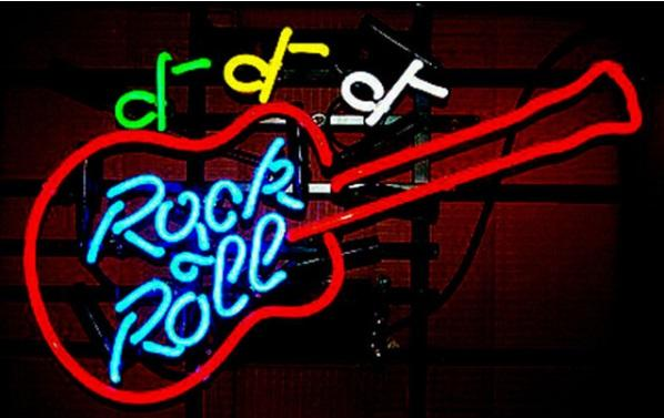 """Rock Roll Guitar Neon Sign Commercial Custom Hand-crafted Beer Bar Store KTV Home Decoration Real Glass Tube Display Neon Signs 17""""X14"""""""