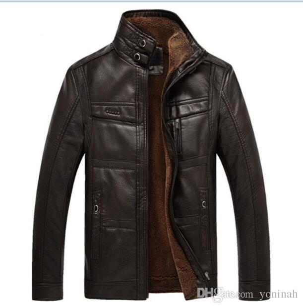 Veste en cuir en peau de mouton hommes vestes en cuir hommes manteau de fourrure de manteau d'ouatine en peau de mouton épaisse intérieure pour les hommes de taille plus