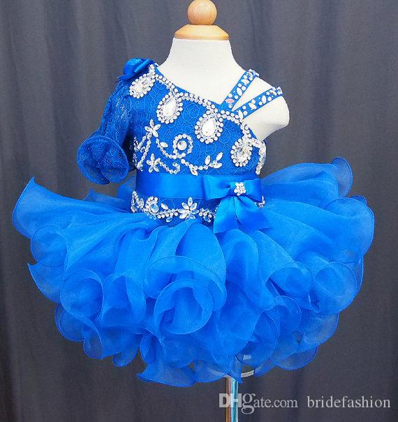 One shoulder half sleeves blue lace beads bow flower girls cupcake little girls pageant dresses kids toddler glitz prom Infant ball gowns