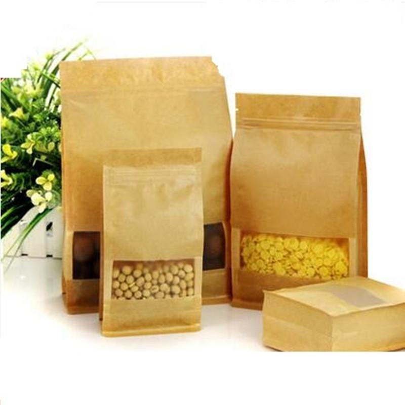 10cm*20cm+6cm Kraft paper bag frosted open window packaging bag eight edge-sealing leisure food packaging organ paper bag 50pcs