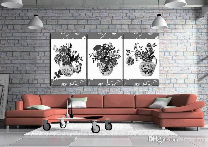 Modern Beautiful Flower Fine Floral Painting Giclee Print On Canvas Home Decor Wall Art Set30386