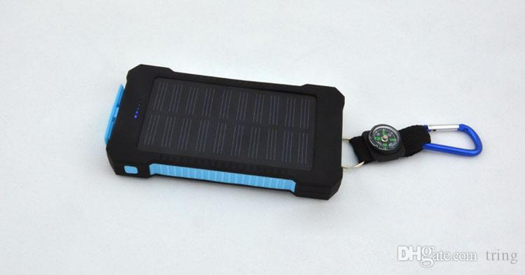 20000mAh universal 2 USB Port Solar Power Bank Charger External Backup Battery With Retail Box For iPhone Samsung cellPhone charger