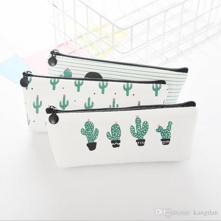 Estudante do escritório com zíper caneta Lápis sacos de casos de papelaria saco organizador de embreagem Bolsa de armazenamento de presente do bebê Cacto moeda bolsa menina sacos de maquiagem