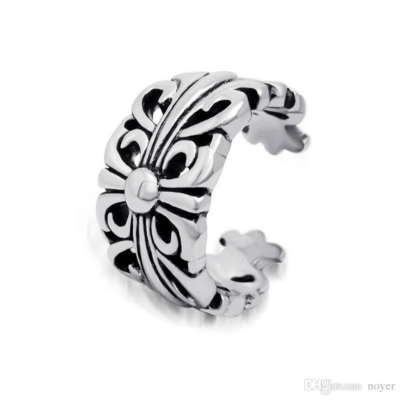 acier titane punk anneaux en acier inoxydable motif en croix vintage hommes métal accessoires mixtes bijoux anneaux ouverts