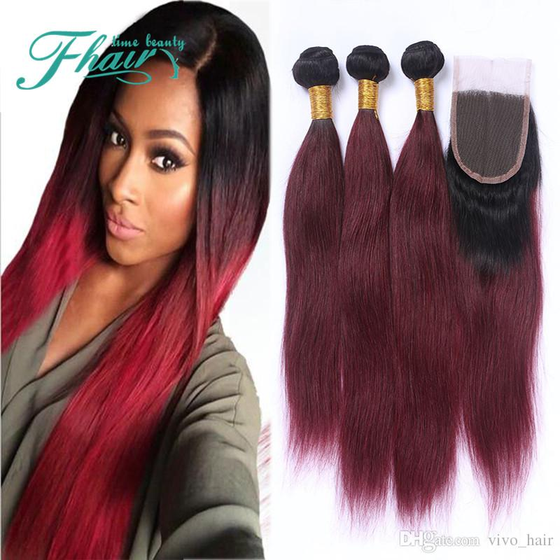 Malaysian Straight #1B/99J Wine Red Ombre Color 4*4 Lace Closure With Hair Bundles 3Pcs Virgin Hair With Closure Free Parting 4Pcs/Lot