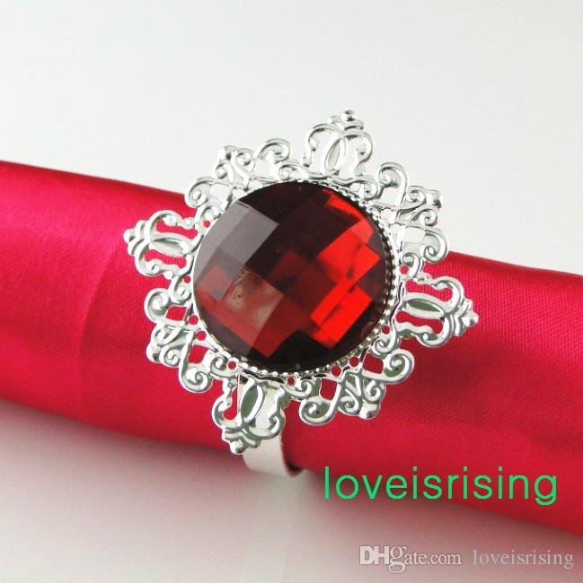 Spårningsnummer -100pcs Högkvalitativ Crimson Red Gem Servett Ring Servetthållare Bröllopsfest Bröllop Bröllop Duschfavör