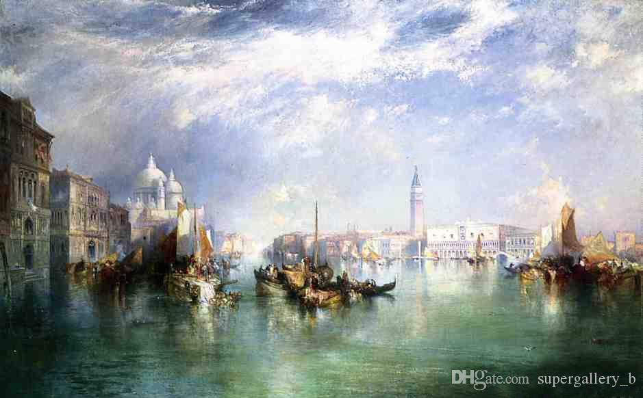 Framed Thomas Moran - Entrance to the Grand Canal, Venice,Pure Handpainted Art oil painting On High Quality Canvas size can be customized