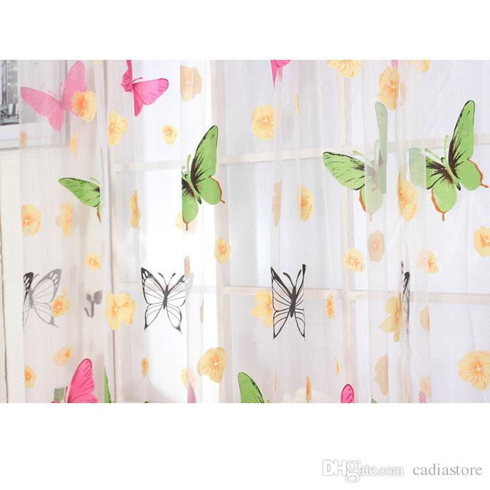 Nicetruc Fenster und Balkon Schmetterling Druck T/üll transparenten Vorhang