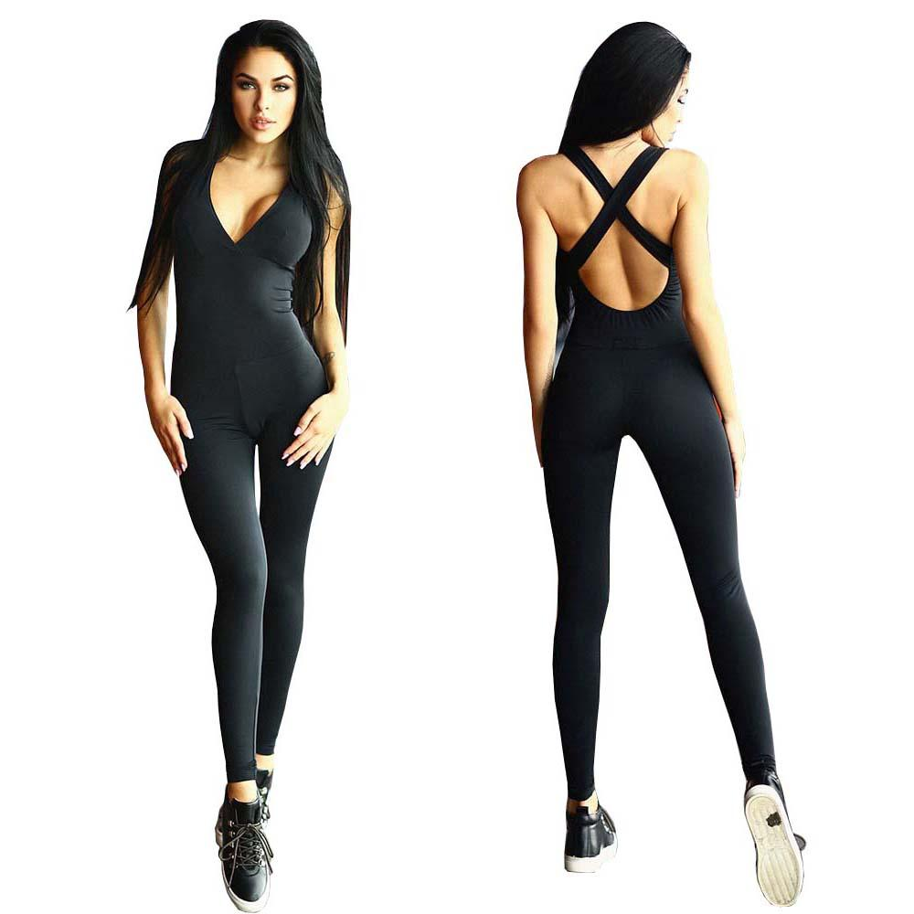 Wholesale- Summer Women Sexy Sleeveless Skinny Rompers Long Jumpsuit Ladies Backless Bandage Playsuit Jumpsuit Overalls YF277