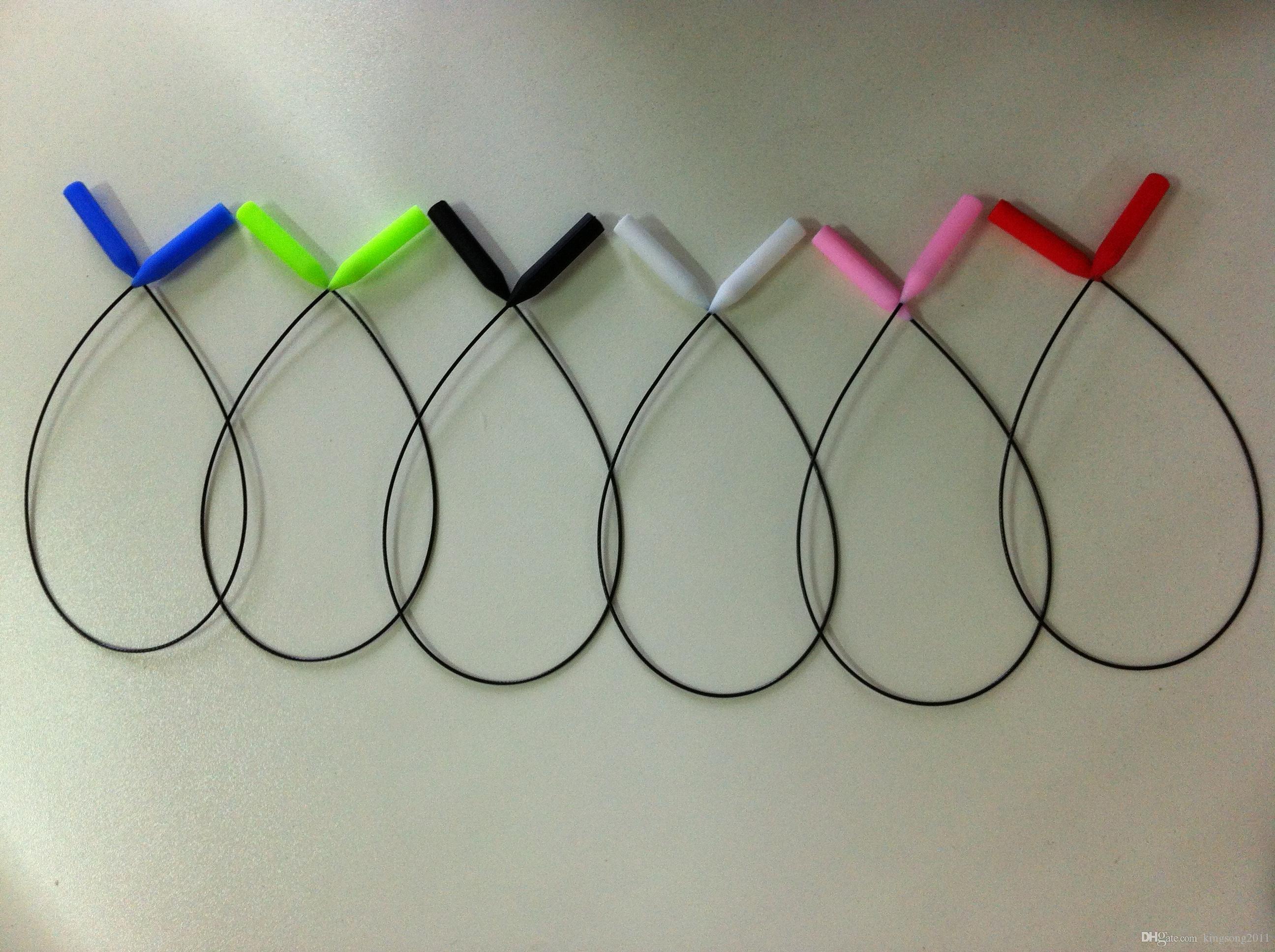 100 pçs / lote ultra fina livre de incômoda luz óculos de óculos óculos óculos de soldador de apoio cabo com redondo Silicone End Dicas Esporte