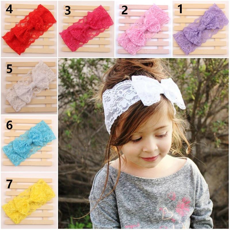 7 Color Baby Big Lace Bow Headbands Girls Lindo Hairband Infantil Precioso Headwrap niños Bowknot Elástico Accesorios para el cabello