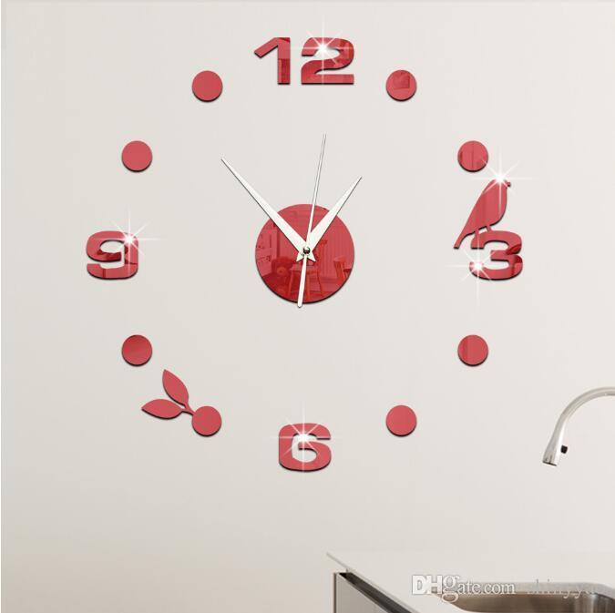 Relógio de parede relógio criativo adesivos de parede Espelho adesivos 3d estereoscópico relógio digital pássaro deixa