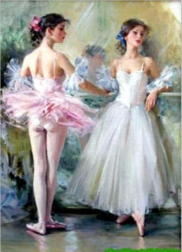 Amazing Top Quality Art Sexy Konstantin.Kazomov Portrait Art Oil Painting On Thick Canvas Multi Size,Nice ballet girls in pink and white