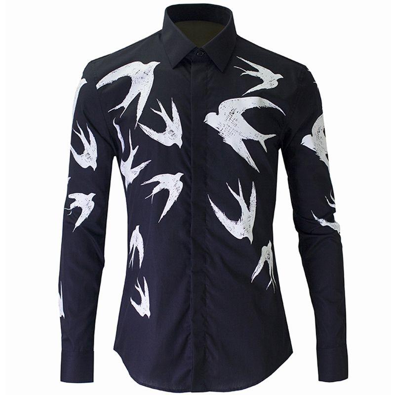 Toptan-Yeni Siyah gömlek erkekler Chemise Homme 2020 Moda Swallow Baskılı Slim Fit Uzun Kollu Erkek Elbise Gömlek Casual Pamuk Gömlek