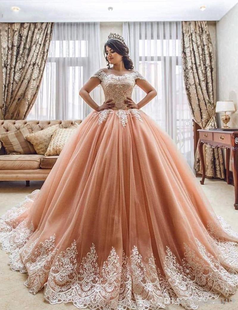 2017 nouvelle robe de bal quinceanera robes de robe de bouillotte manches blanches dentelle appliqus blush rose doux 16 guiche de soir de la fête