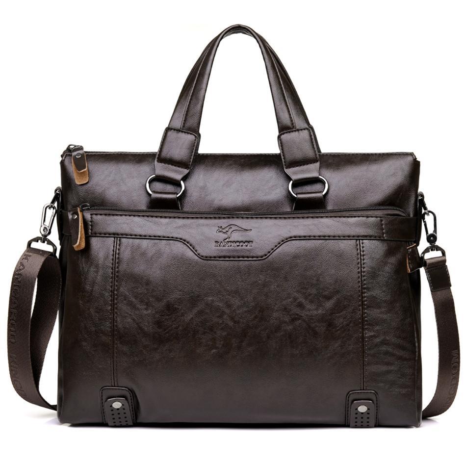 Оптово Кенгуру мужчин Повседневный портфель бизнес плеча посыльного кожи сумки ноутбук компьютер Сумочка Мужские сумки для путешествий
