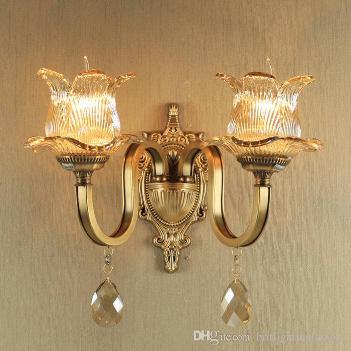 Altın Bronz Avrupa Kristal Lamba Retro çift yatak odası başucu duvar lambası otel salonu culb cafe duvar lambası koridor merdiven aydınlatma