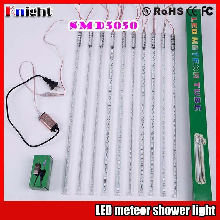 wholesale 0.8M/660Lamps smd5050 Meteor Shower lights 10pcs/set two-sided emitt tree twinkle lights 12v 0.5M/600leds RGB meteor string lights