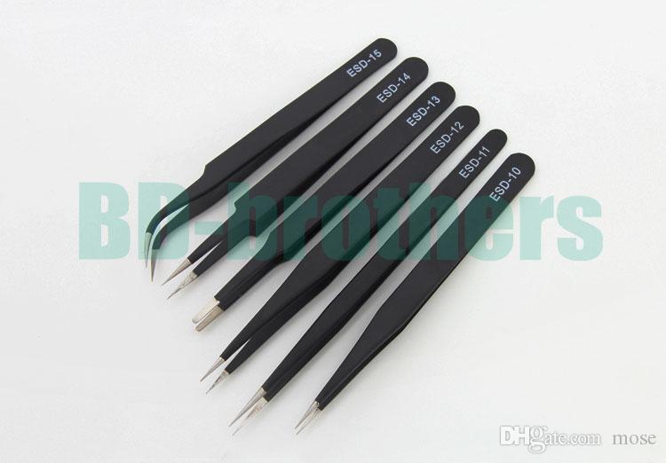 1.5mm schwarze antistatische Edelstahl-Pinzette ESD 10 11 12 13 14 15 ohne Kleinpaket für Telefon-Reparatur-Reparatur-Werkzeuge 1000pcs / lot