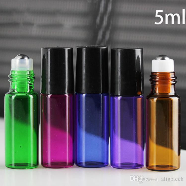 New Popular 5ML Colorful Glass Roll On Bottles for Essential Oil Perfume with Stainless Steel Roller And Black Cap 1620Pcs 5 Colors Free-DHL