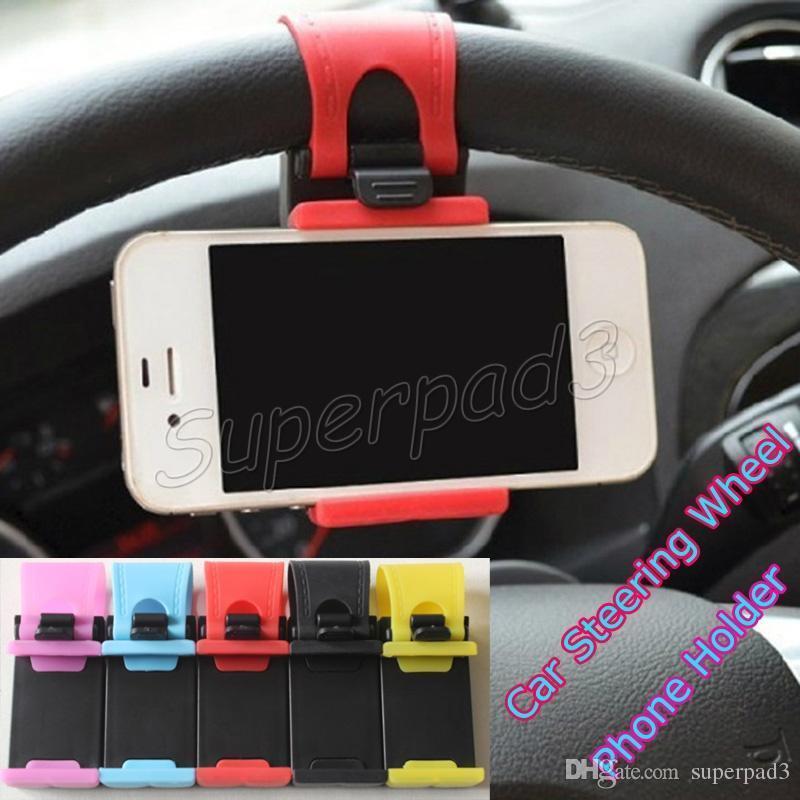 무료 배송 자동차 스티어링 휠 전화 홀더 스탠드 아이폰 삼성 Xiaomi LG HTC 스마트 폰 PDA GPS MP4 장치 브래킷 소매 상자