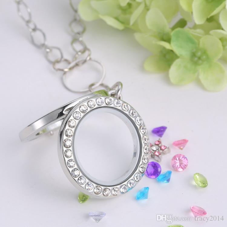 Chaude blanc K or plaqué flottant charmes rond verre photo médaillon pendentif collier bijoux avec chaîne de 60 cm vente directe d'usine
