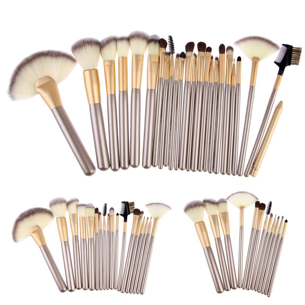 Профессиональный макияж кисти установить Фонд порошок тени для век румяна макияж кисти макияж кисти комплект с кожаный мешок DHL бесплатно