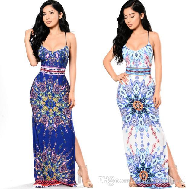 Summer Women Sling Floral Dress Stampa sexy High Split Maxi Dress Fashion Bohemia femminile Harness Long Dress