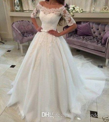 2017 Fashion Off Shoulder Plus Size Wedding Dresses 2016 Half Sleeves Lace Appliques Ruched Cheap Bridal Gown Sweep Train Wedding Gowns