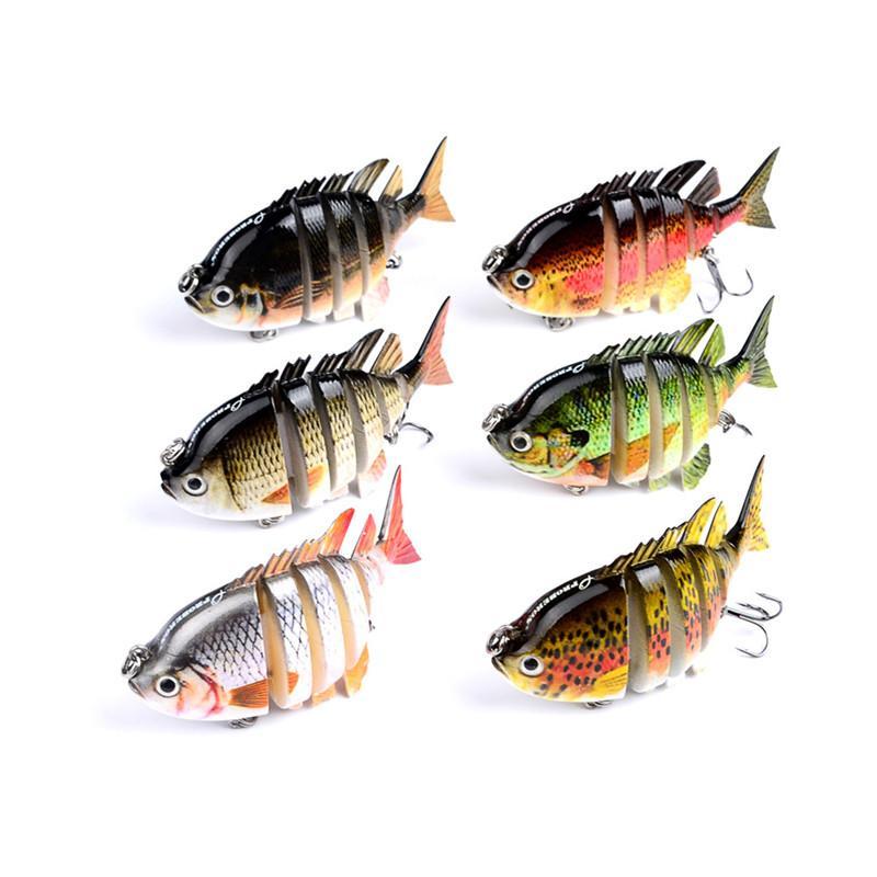 8cm 14g Fishing Wobblers 6 Segments Swimbait Crankbait Bright Colors Fishing Lure Laser Bait with Artificial Hooks