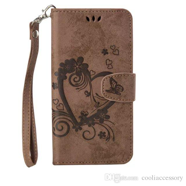 For Huawei Y560 Y360 Honor 6 5X Y6 Wallet Flip Leather Pouch Case Love Heart Strap ID Card Photo Stand TPU Flower Skin Cover Cell phone 1pcs