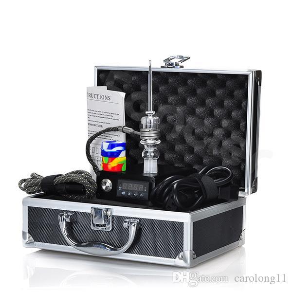 Kit chiodo Dab elettrico per unghie al quarzo E Kit completo per vaporizzatore di cera Dabber con regolatore di temperatura 100w per tubo di olio di vetro Rig Bong