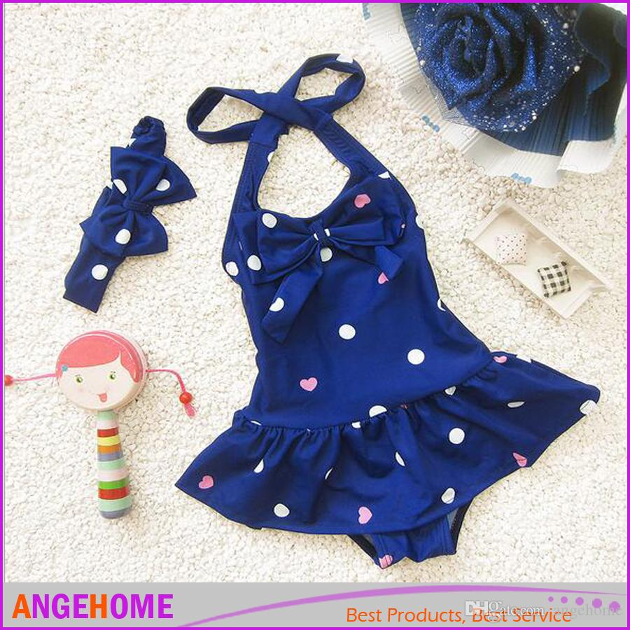 2016 Children's baby swimwear cute female baby one pieces skirt type Beach bathing suit with headwear Baby Girls Beach Clothes