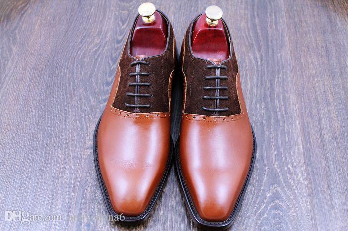 Calzado de vestir Calzado de hombre Calzado de cuero de becerro hecho a mano, zapatos hechos a mano Oxford color Venta caliente HD-0100