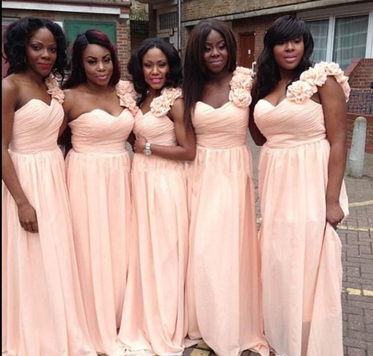 Blush Pink Bridesmaid Dresses Long 2016 One Shoulder Pleats Flowers Chiffon Plus Size Cheap Wedding Guest Dress Bridesmaid Formal Gowns