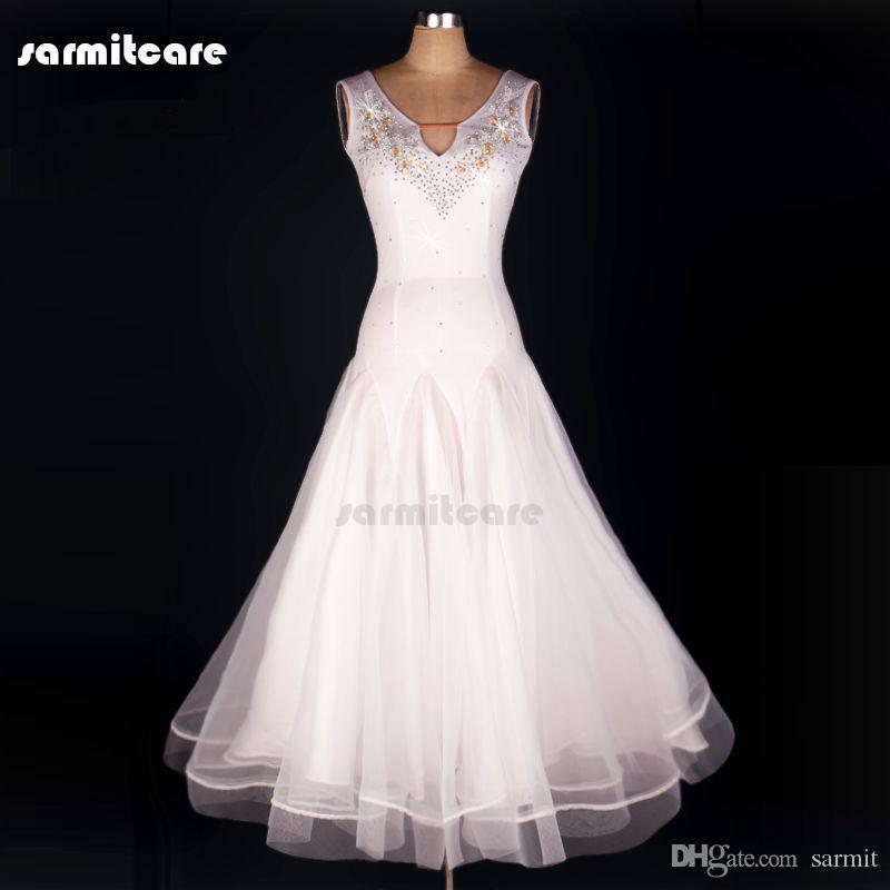 Robes de soirée sur mesure Valse Standard Compétition Robes de danse Costume Robe Tango D0123 avec Appliques strass Grand ourlet transparent