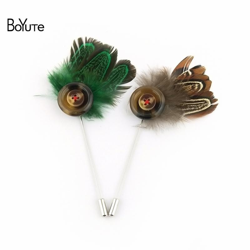 BoYuTe 5Pcs Hand Made Feather Lapel Pin Fashion Wedding Men Brooch Jewelry 6 Colors Christmas Ornament