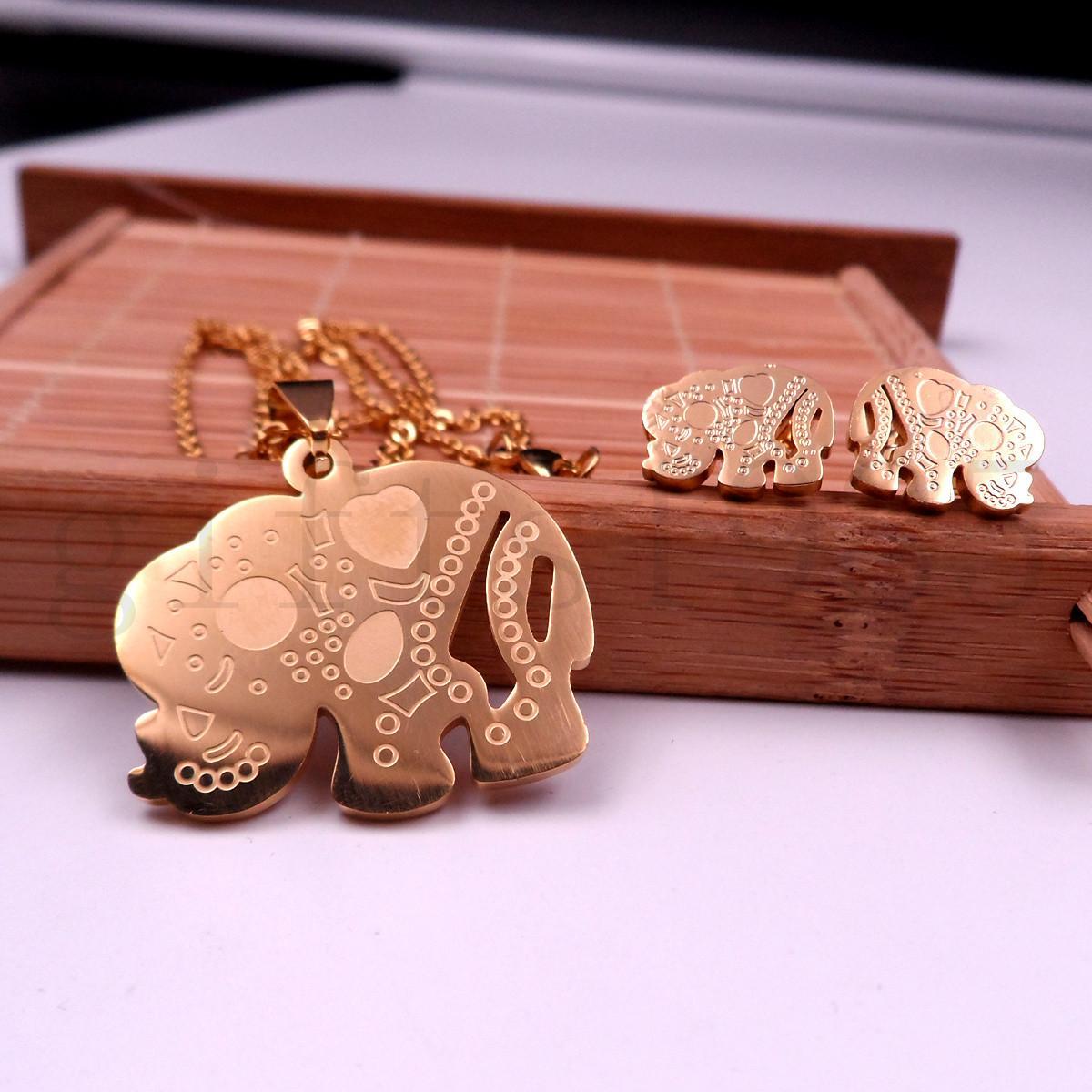 Großhandel Edelstahl goldene Kette günstiger Elefant Anhänger Ohrring Halskette Charme