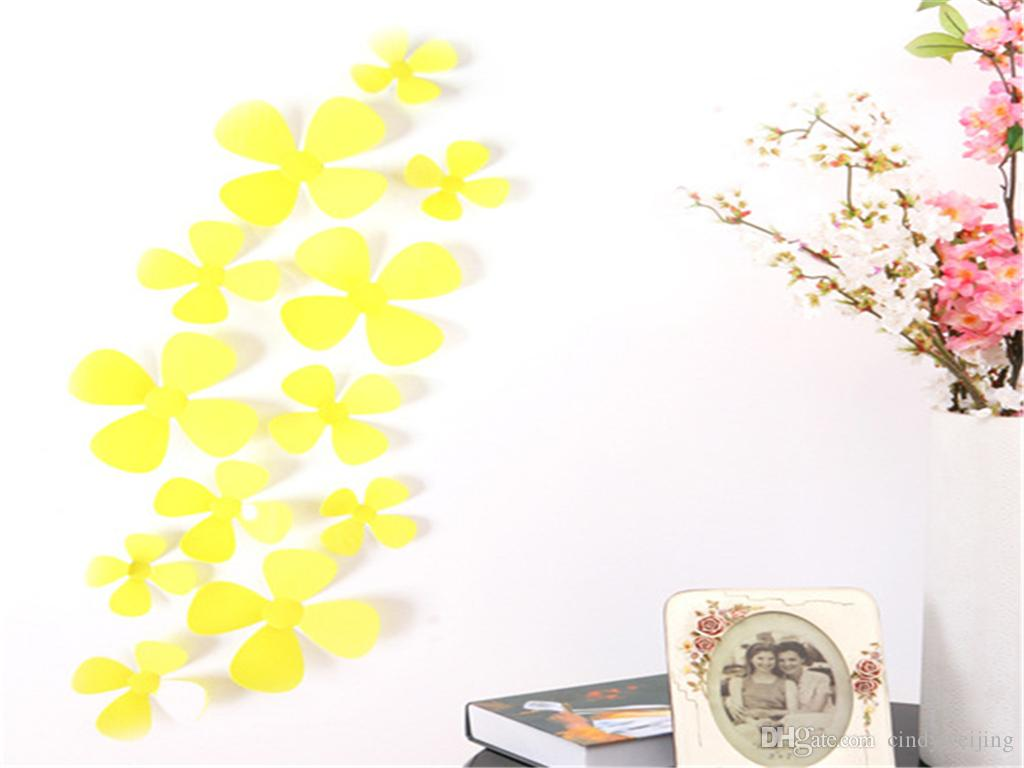 Cute Funny 12 pcs/Lot 3D Four Leaf Clover Wall Stickers Clover ...