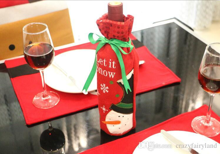 2016 NEW Embroidery Santa Claus Snowman Red Green Wine Bottle Cover Ornament For New Year Christmas Decoration Supplies Gift bag TOP1401ZX2