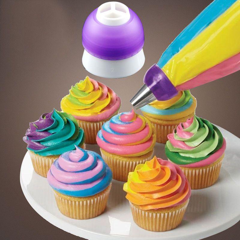 3 colori torta che decora gli attrezzi della glassa Piping crema pasticcera Bag ugello Converter