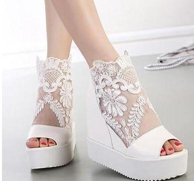 Scarpe Zeppa Sposa.Sexy Wedge Sandal Silver White Lace Wedding Boots High Platform