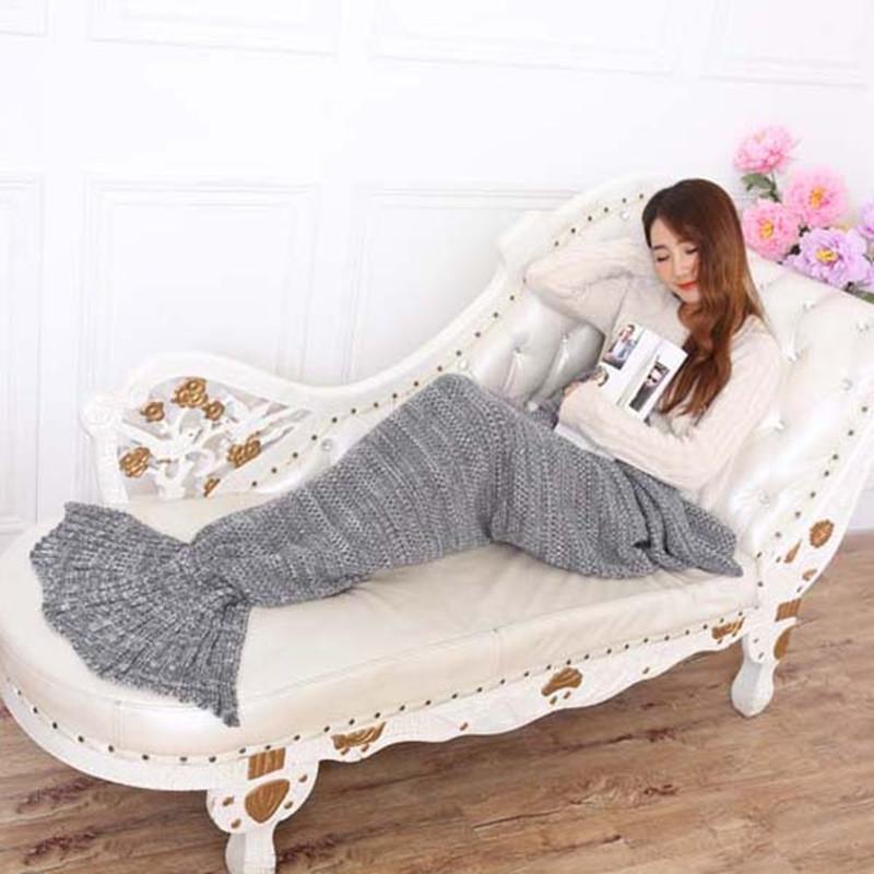Manta de dormir 195 * 85 cm Hilo de punto Mermaid Tail Manta Hecho a mano Manta de sirena Niños Manta Tiro de la cama Super suave Color libre