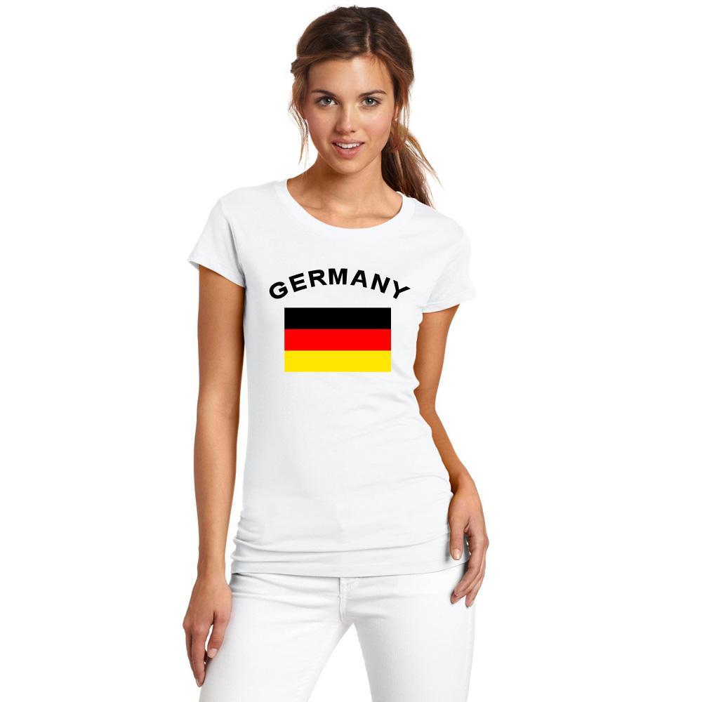ألمانيا المعجبين يهتف العلم القمصان صيف 2016 الأوروبية لكرة القدم الرياضة اللياقة البدنية ألمانيا العلم الوطني القمصان للنساء