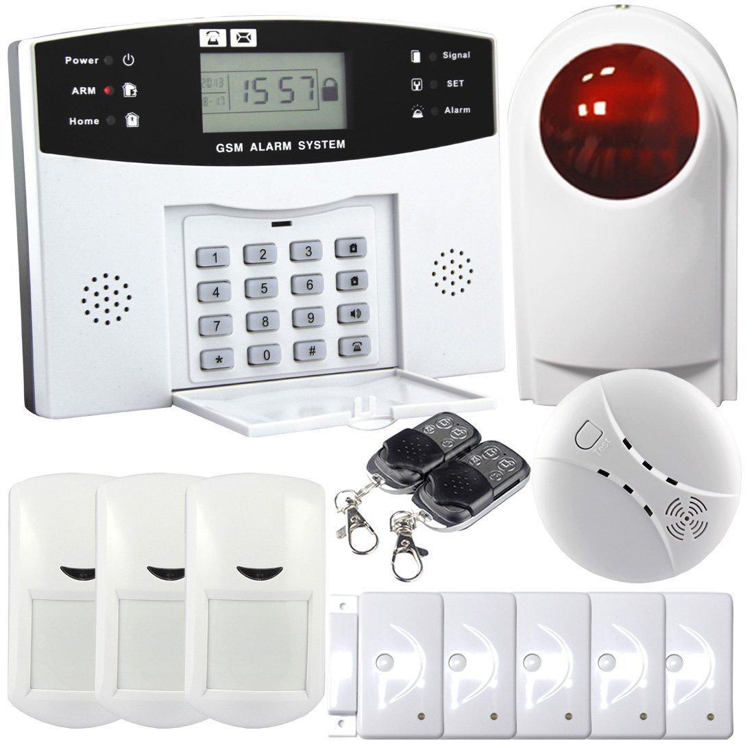 Safearmed®Wireless Smart GSM Sistema de alarme de segurança em casa Tela LCD azul com relógio de tempo e exibição de status de alarme