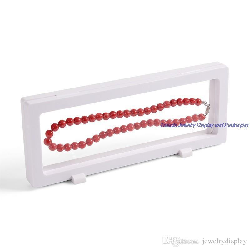 Fashion Free Shipping Bulk Price PET Transparent Suspension Window Case Diamond Ring Necklace Holder Jewelry Display Box