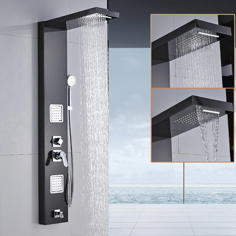 Wall Shower Panel Stainless Steel Rainfall Waterfall Handle Shower Massage Jets Tub Spout Bath Shower Column Tower 5 Function +Handshower