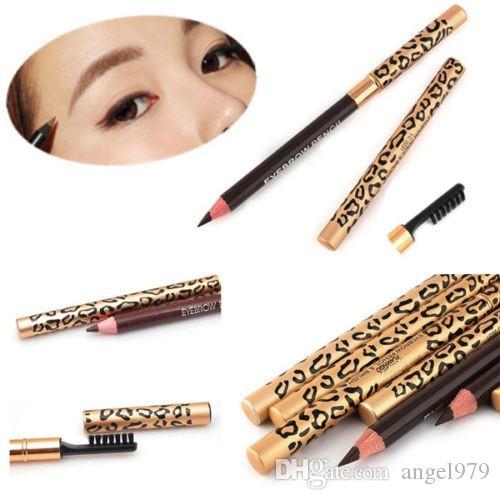 La nuova matita nera impermeabile del sopracciglio delle donne del leopardo con la spazzola compone i colori dell'eye-liner 5 per sceglie 12pcs / lot