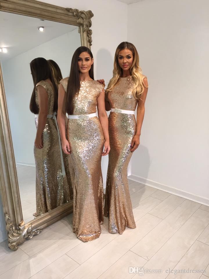 2021 Più nuovo sexy sexy sirena oro paillettes modesto abiti da damigella d'onore a buon mercato Abiti da ballo a lungo termine