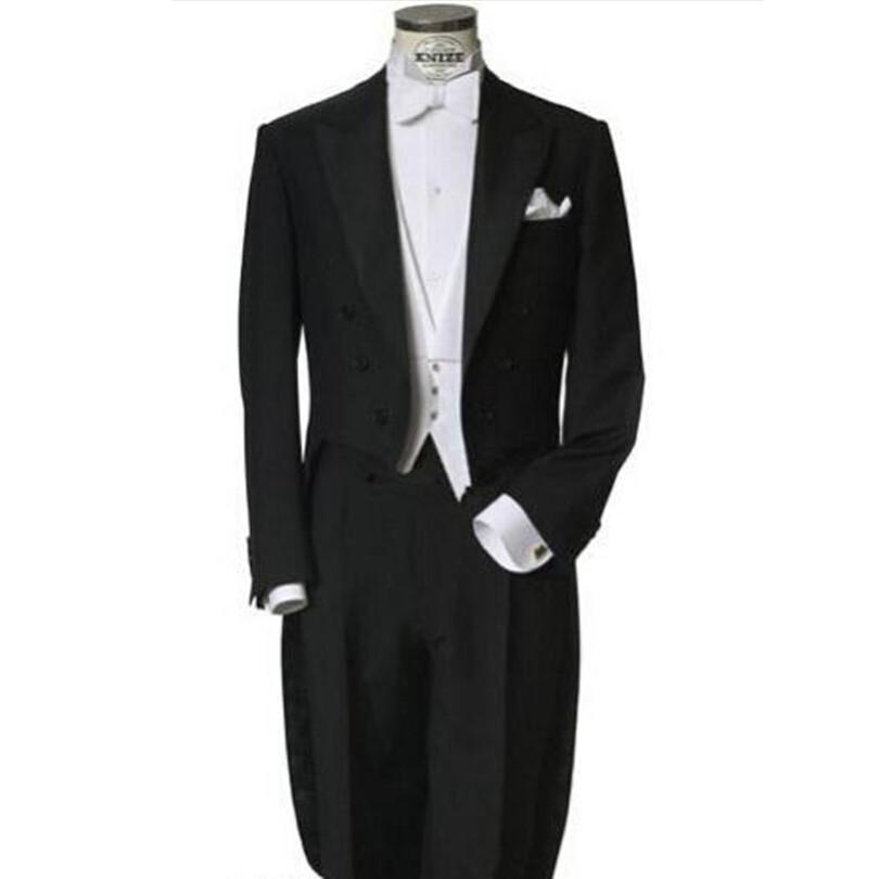 Arrivo Erren ANZUG UOMO TUSSUMONIO NERO BLACK BLACKOAZS Wedding smokings (giacca + pantaloni + farfallino + giubbotto) uomo vestito costume homme